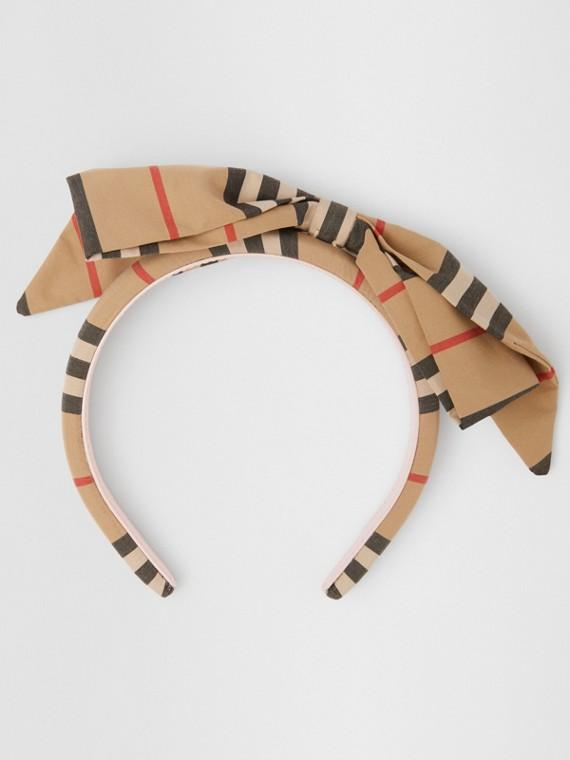 Haarreif mit Streifenmuster und Schleifendetail (Vintage-beige)