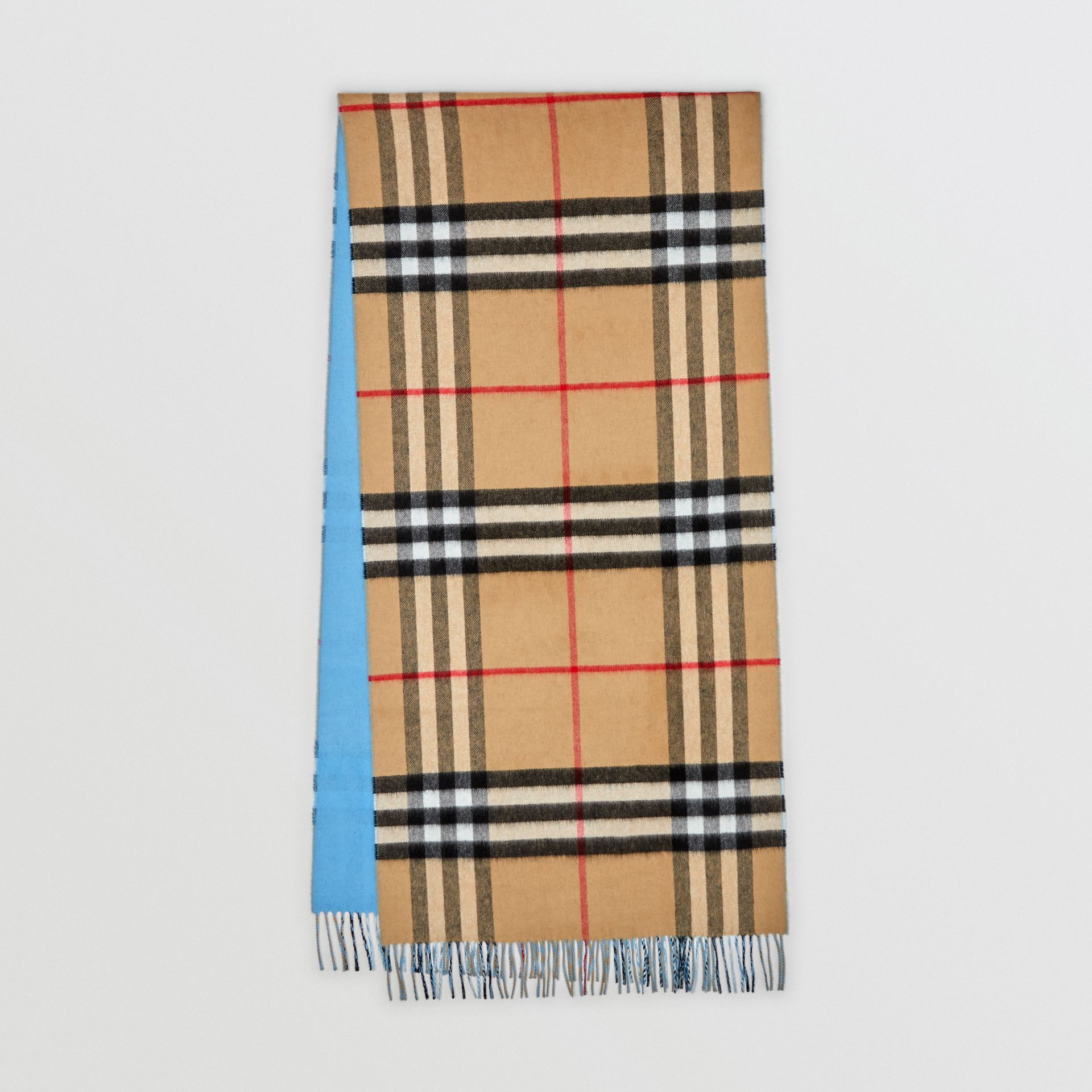 Reversible Check Cashmere Scarf in Blue Topaz | Burberry - gallery image 0