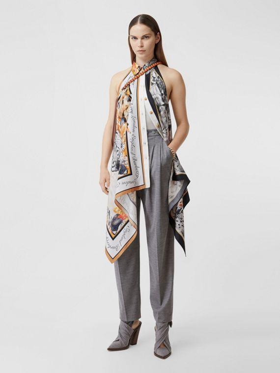 Animalia Print Silk Scarf Panel Bodysuit in Grey Melange