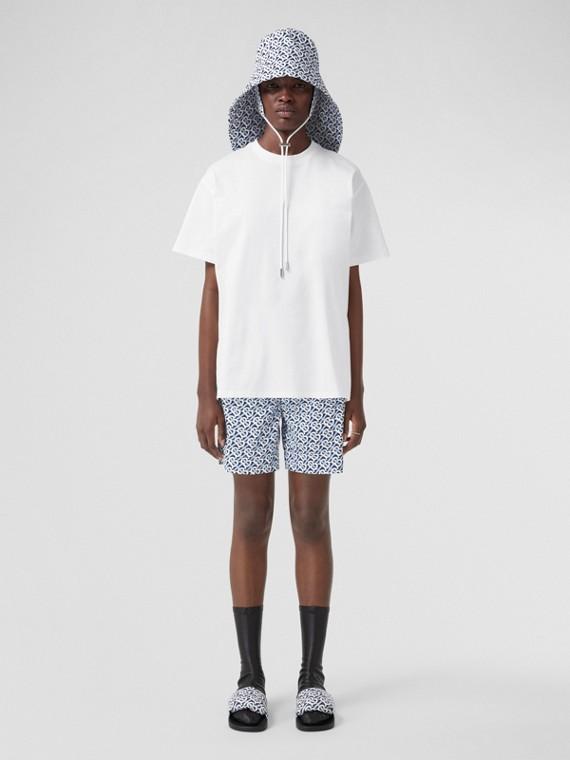 T-shirt oversize in cotone con stampa monogramma a righe (Bianco)
