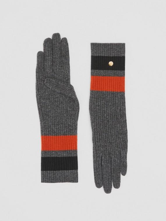 Luvas de cashmere e lã merino com monograma (Cinza Escuro)