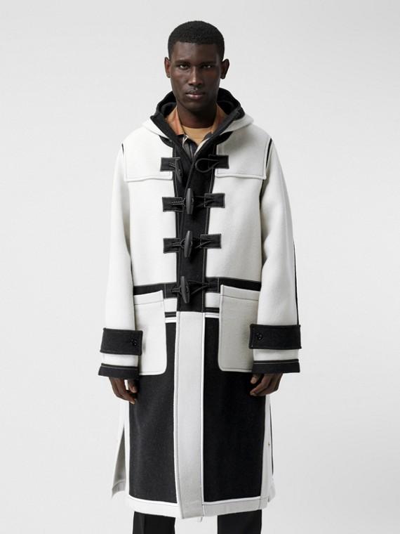 Duffle-coat en laine double face bicolore (Blanc)