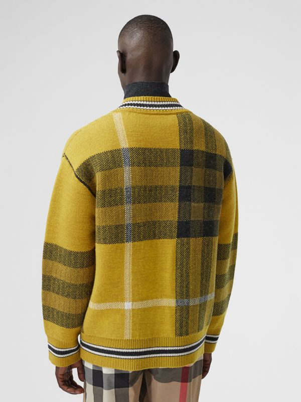 Check Wool Cashmere Jacquard Sweater in Bright Yellow - Men | Burberry - cell image 2