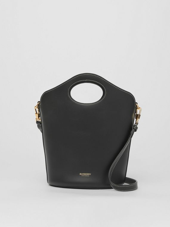 Small Leather Pocket Bucket Bag in Black
