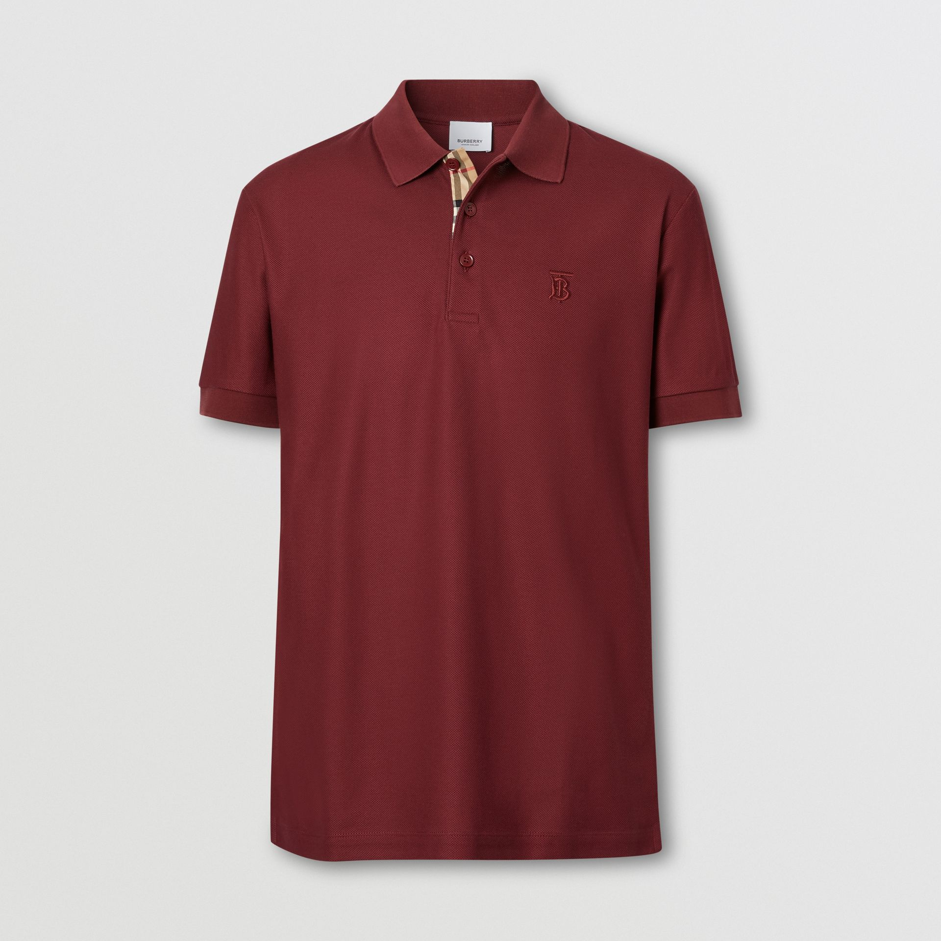 Monogram Motif Cotton Piqué Polo Shirt in Garnet - Men | Burberry - gallery image 3