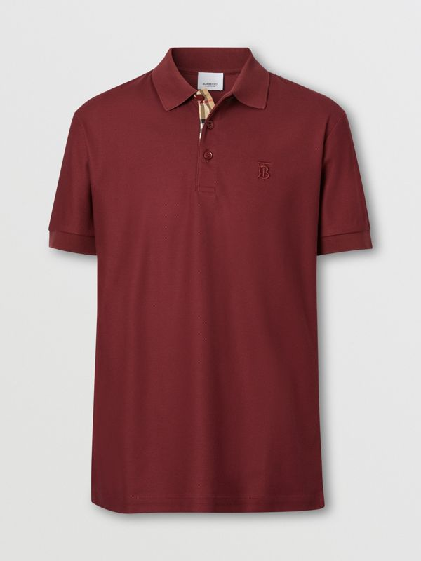 Monogram Motif Cotton Piqué Polo Shirt in Garnet - Men | Burberry - cell image 3