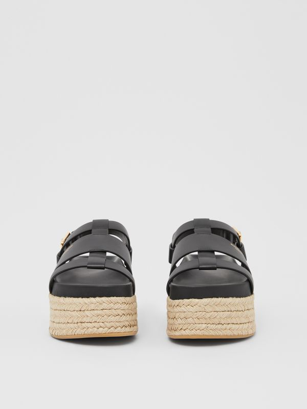 Logo Embossed Leather and Jute Sandals in Black - Women | Burberry - cell image 2