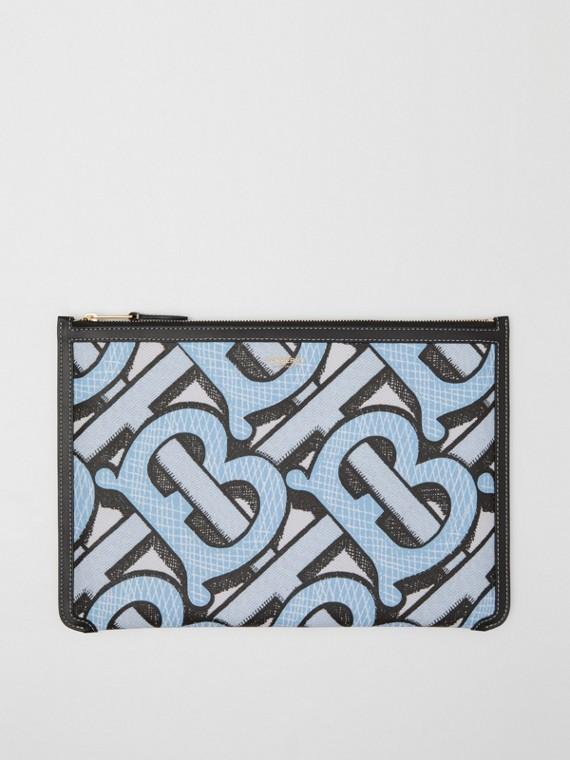 Сумка-кошелек из ткани e-canvas и кожи (Бледная Лазурь)