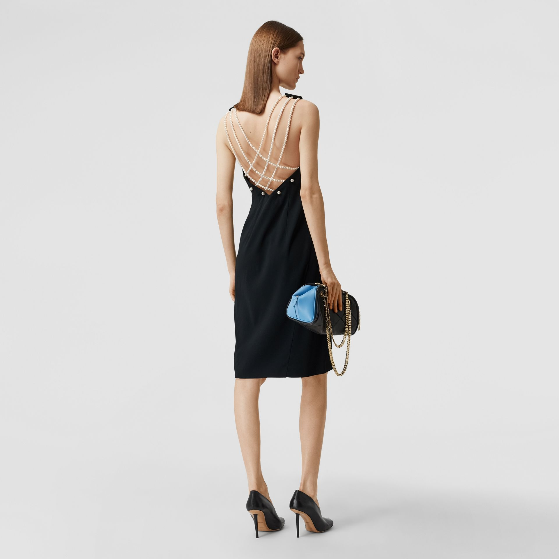 Glass Pearl Detail Satin Crepe Shift Dress in Black - Women | Burberry - gallery image 0