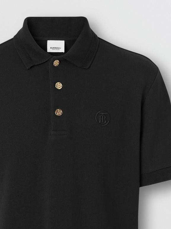 Camisa polo de algodão piquê com detalhe de botão (Preto) - Homens | Burberry - cell image 1