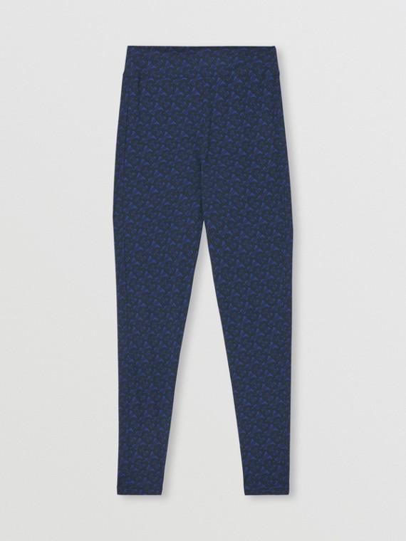 Leggings in jersey stretch con stampa monogramma (Blu Reale Scuro)