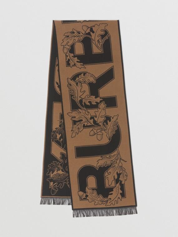 Archive Logo Wool Silk Jacquard Scarf in Birch Brown