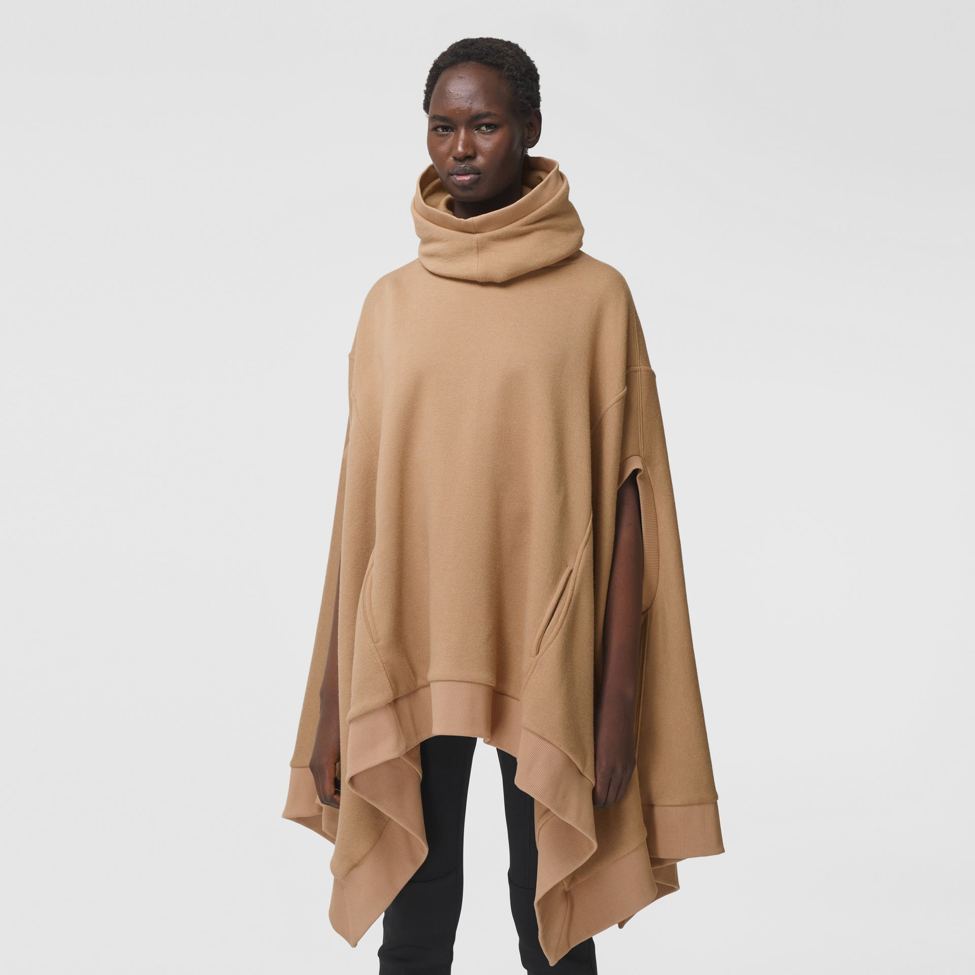 Cut-out Sleeve Jersey Hooded Cape in Camel - Women | Burberry Canada - gallery image 4