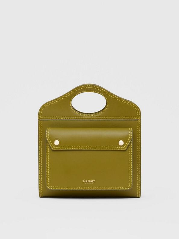 Mini Topstitched Leather Pocket Bag in Juniper Green