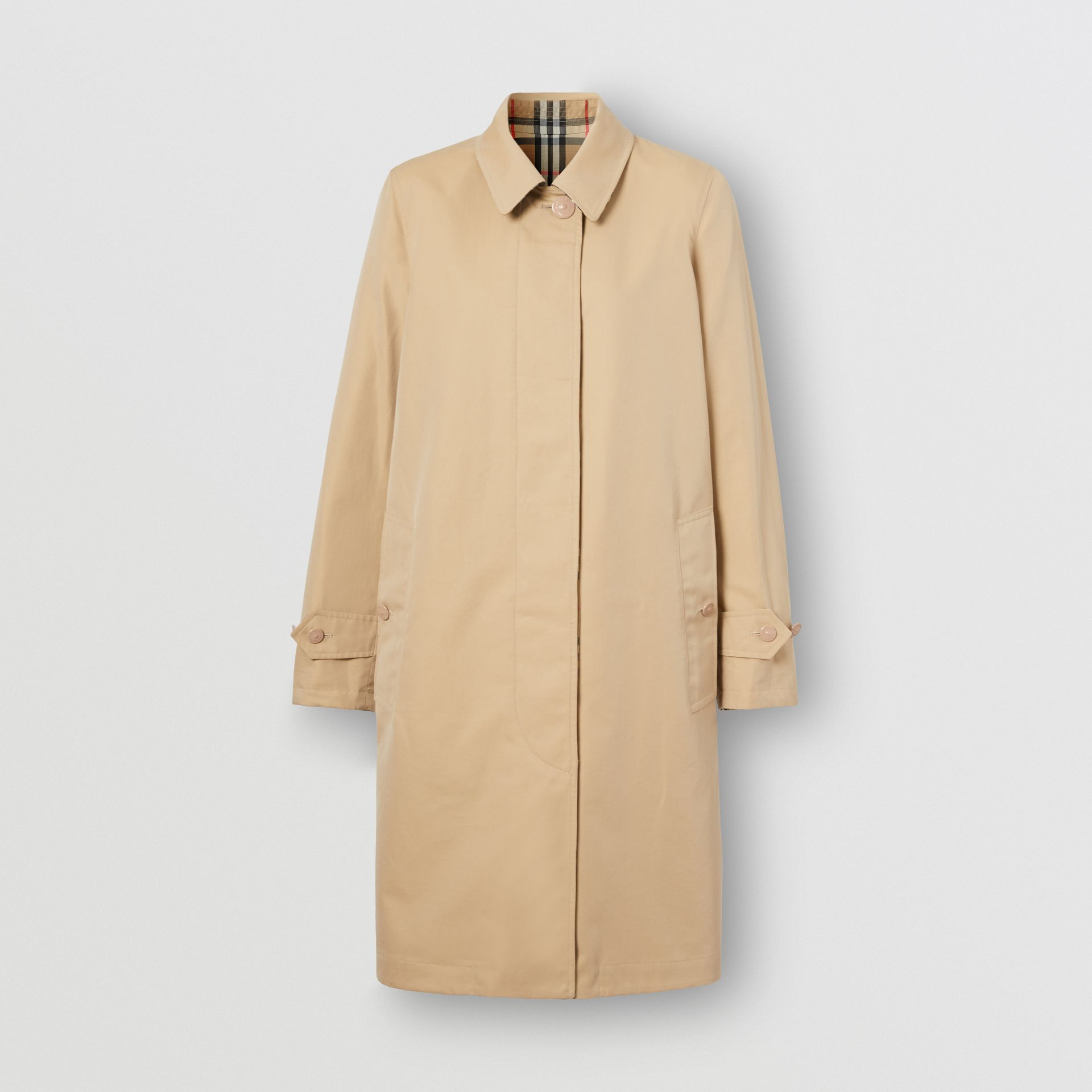 Reversible Cotton and Vintage Check Car Coat in Honey - Women | Burberry - gallery image 3