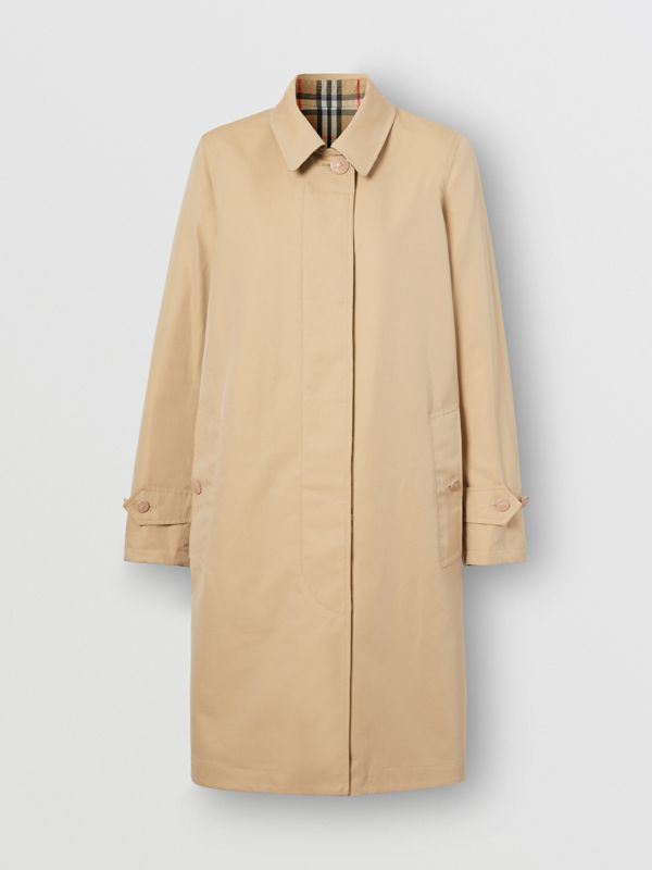 Reversible Cotton and Vintage Check Car Coat in Honey - Women | Burberry - cell image 3