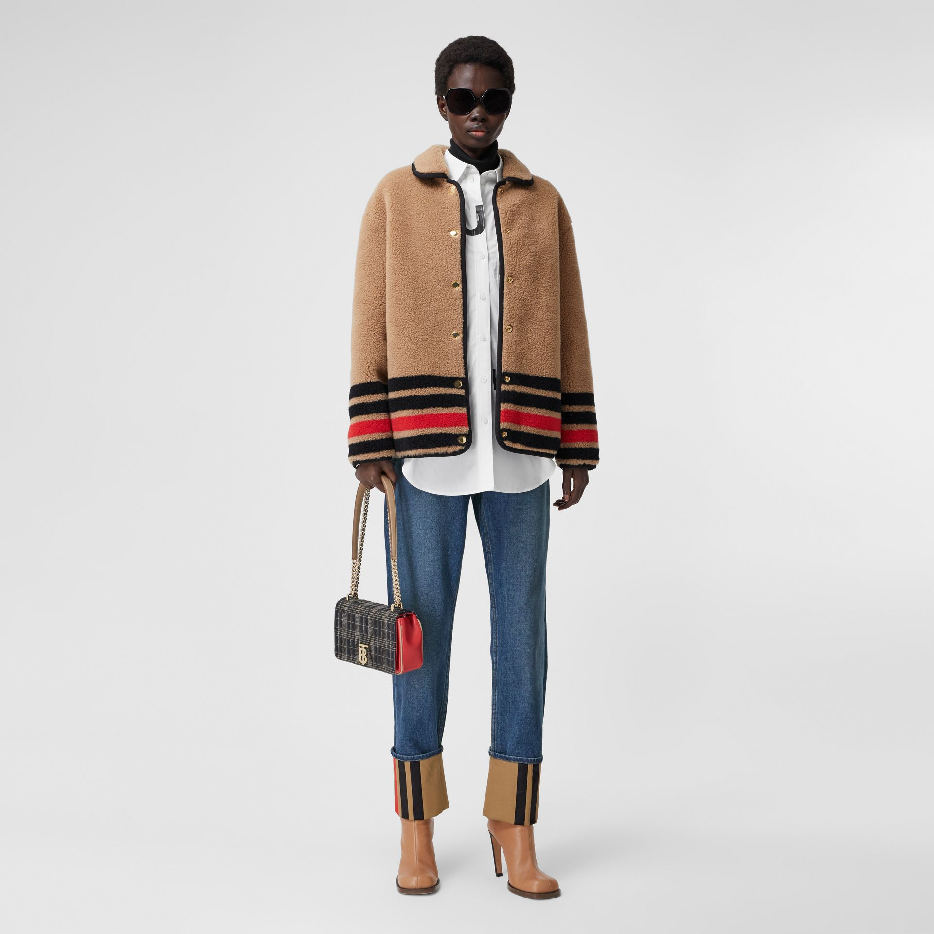 Straight Fit Striped Cuff Washed Jeans in Mid Indigo Blue - Women | Burberry - gallery image 0