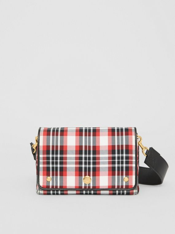 Small Tartan Nylon Crossbody Bag in Bright Red