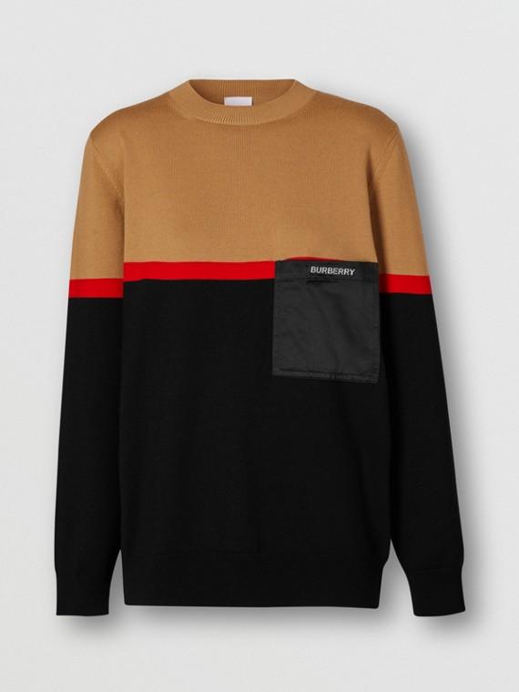 Colour Block Merino Wool Cotton Sweater in Black