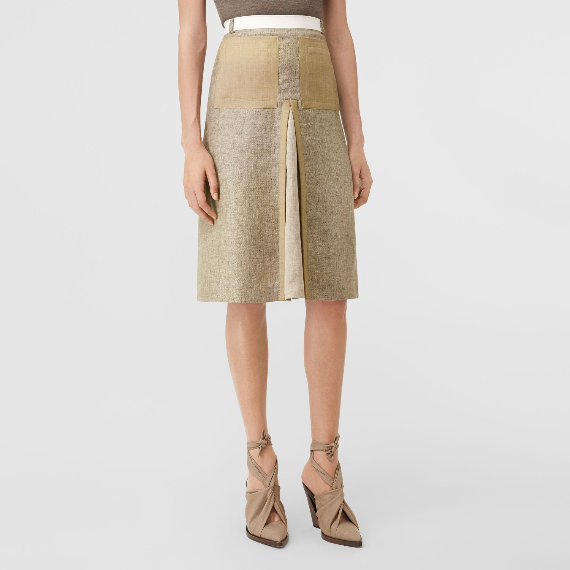Contrast Seam and Box-pleat Detail Linen A-line Skirt in Cedar Brown Melange - Women | Burberry - gallery image 6