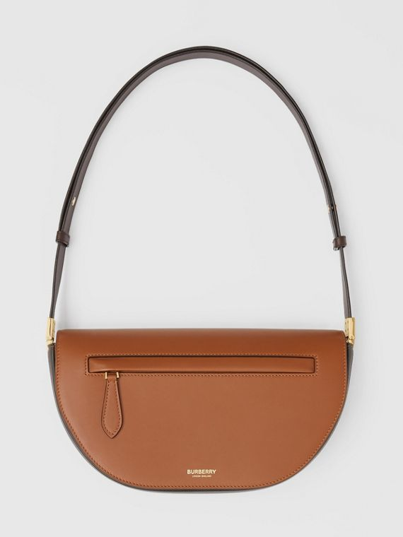 Small Two-tone Leather Olympia Bag in Warm Tan