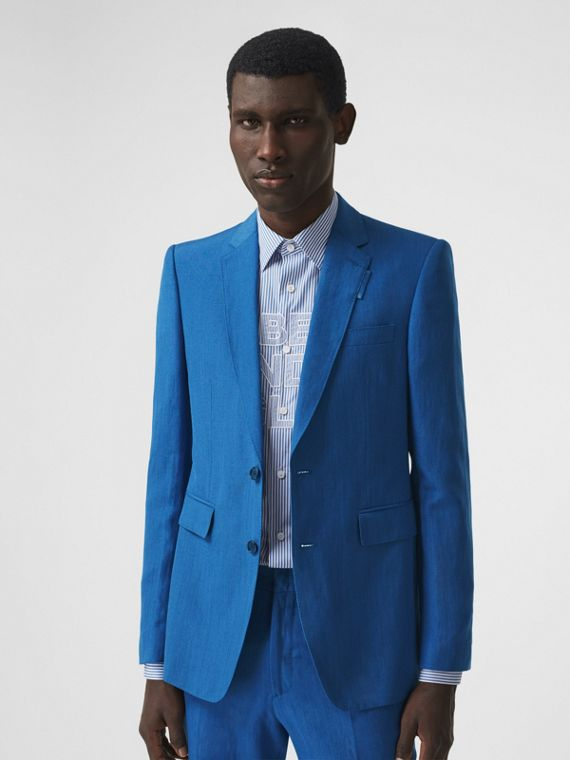 Classic Fit Linen Mohair Silk Tailored Jacket in Dark Cerulean Blue