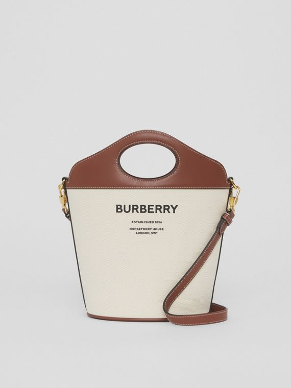 Small Two-tone Canvas and Leather Pocket Bucket Bag in Natural/tan