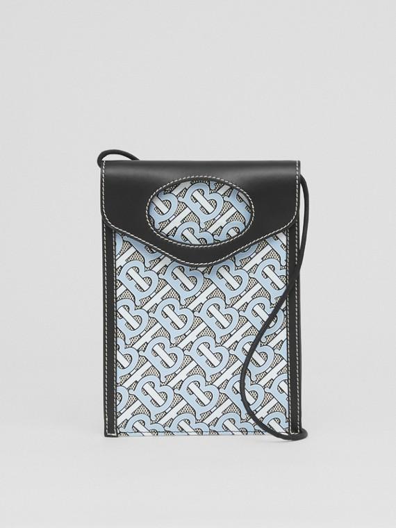 Custodia per telefono Pocket in tela e pelle con monogramma (Azzurro Cielo)