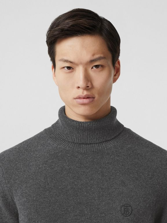 Monogram Motif Cashmere Roll-neck Sweater in Charcoal - Men | Burberry - cell image 1