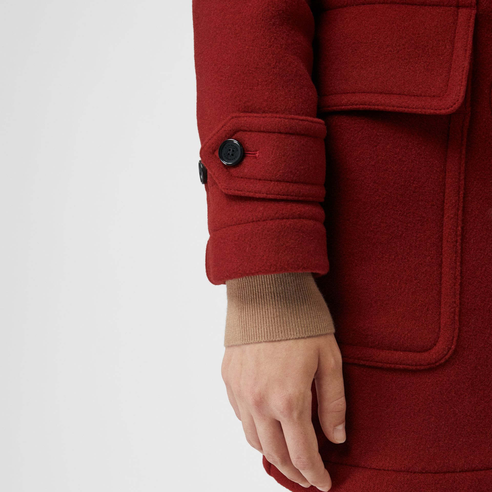The Mersey Duffle Coat in Parade Red - Women | Burberry Canada - gallery image 4