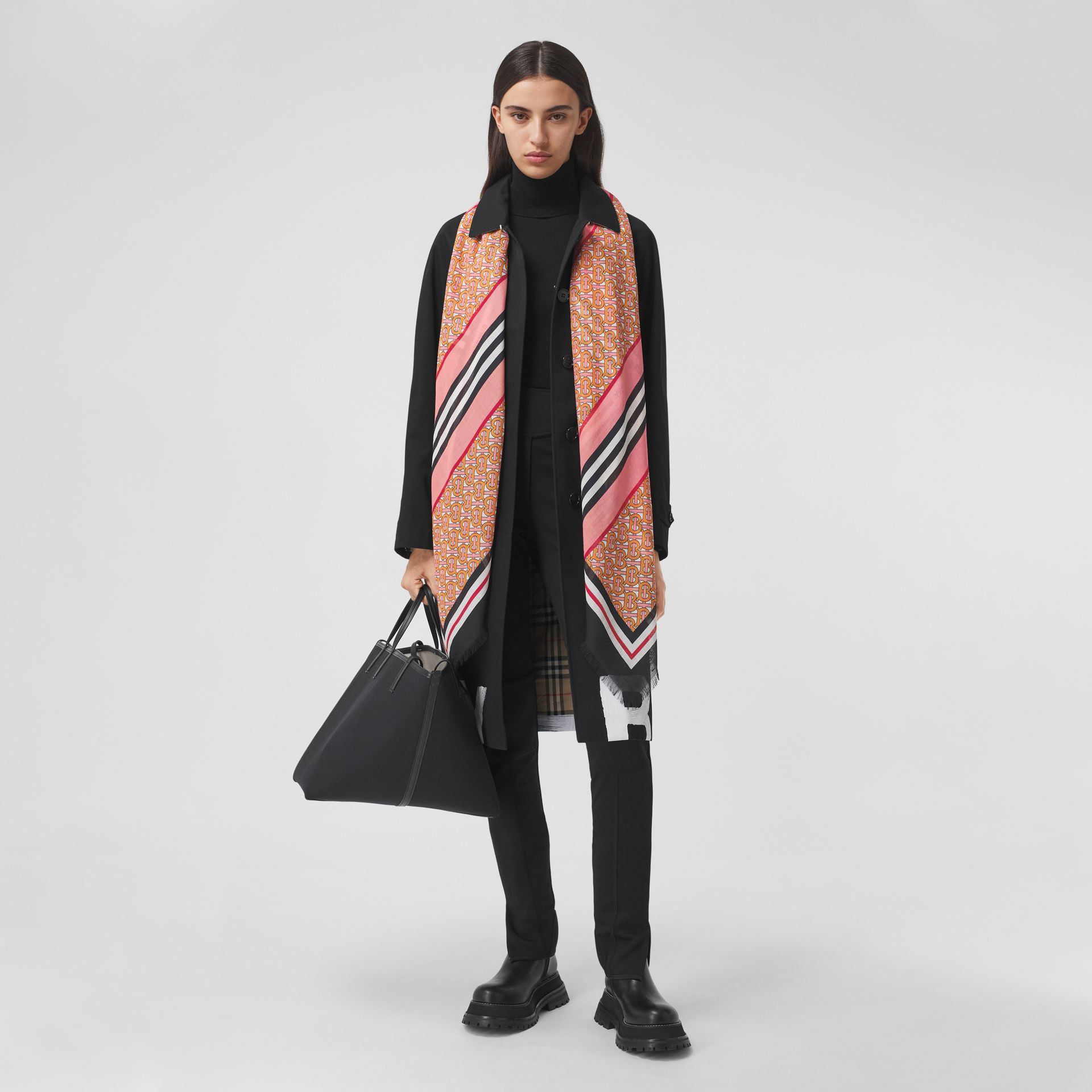 Icon Stripe Monogram Print Wool Silk Square Large Scarf in Camellia Pink | Burberry - gallery image 5