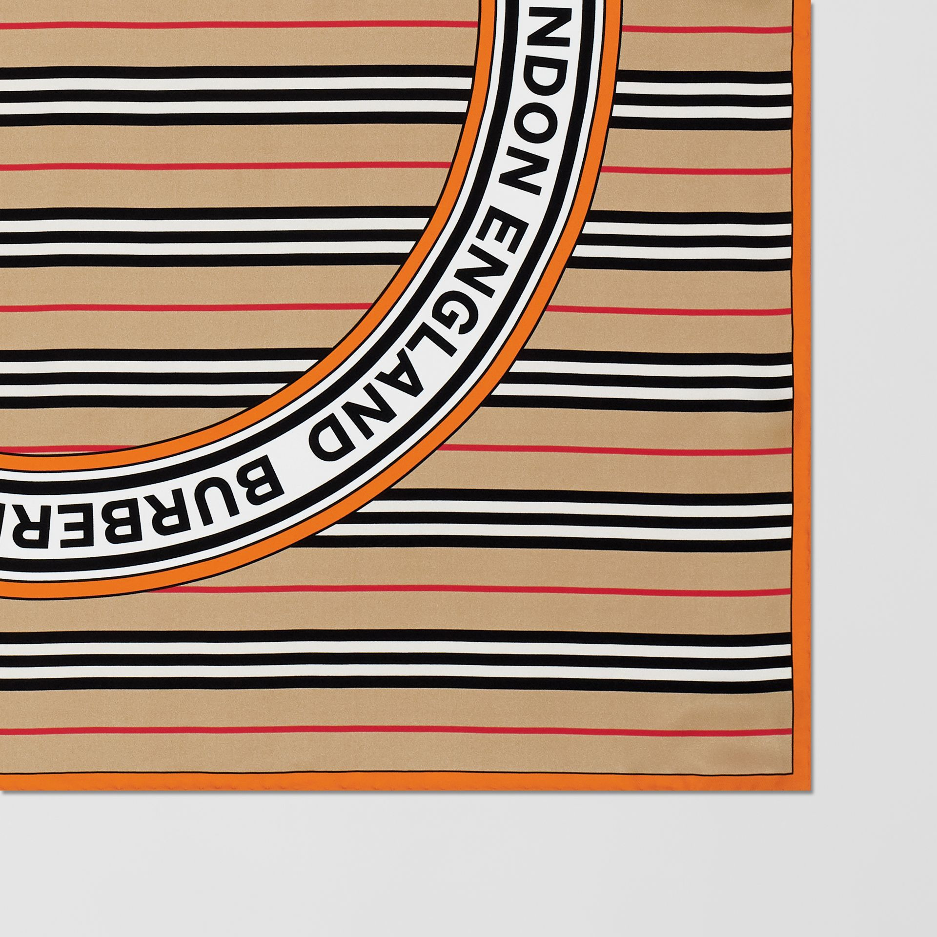 Icon Stripe and Logo Graphic Silk Square Scarf in Archive Beige | Burberry United Kingdom - gallery image 1