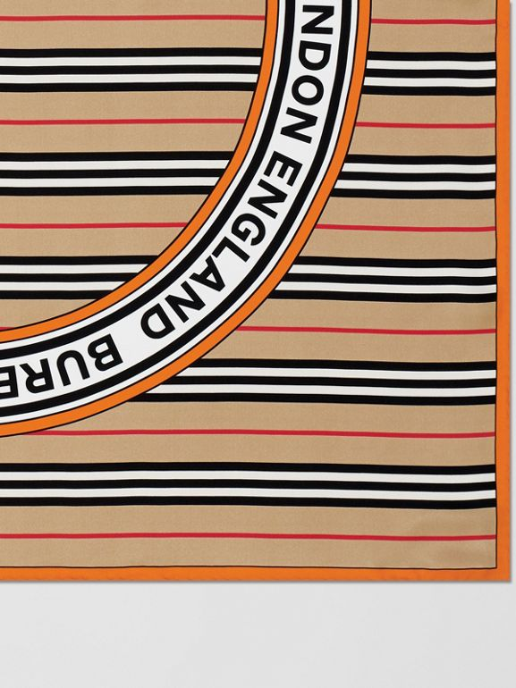 Icon Stripe and Logo Graphic Silk Square Scarf in Archive Beige | Burberry United Kingdom - cell image 1