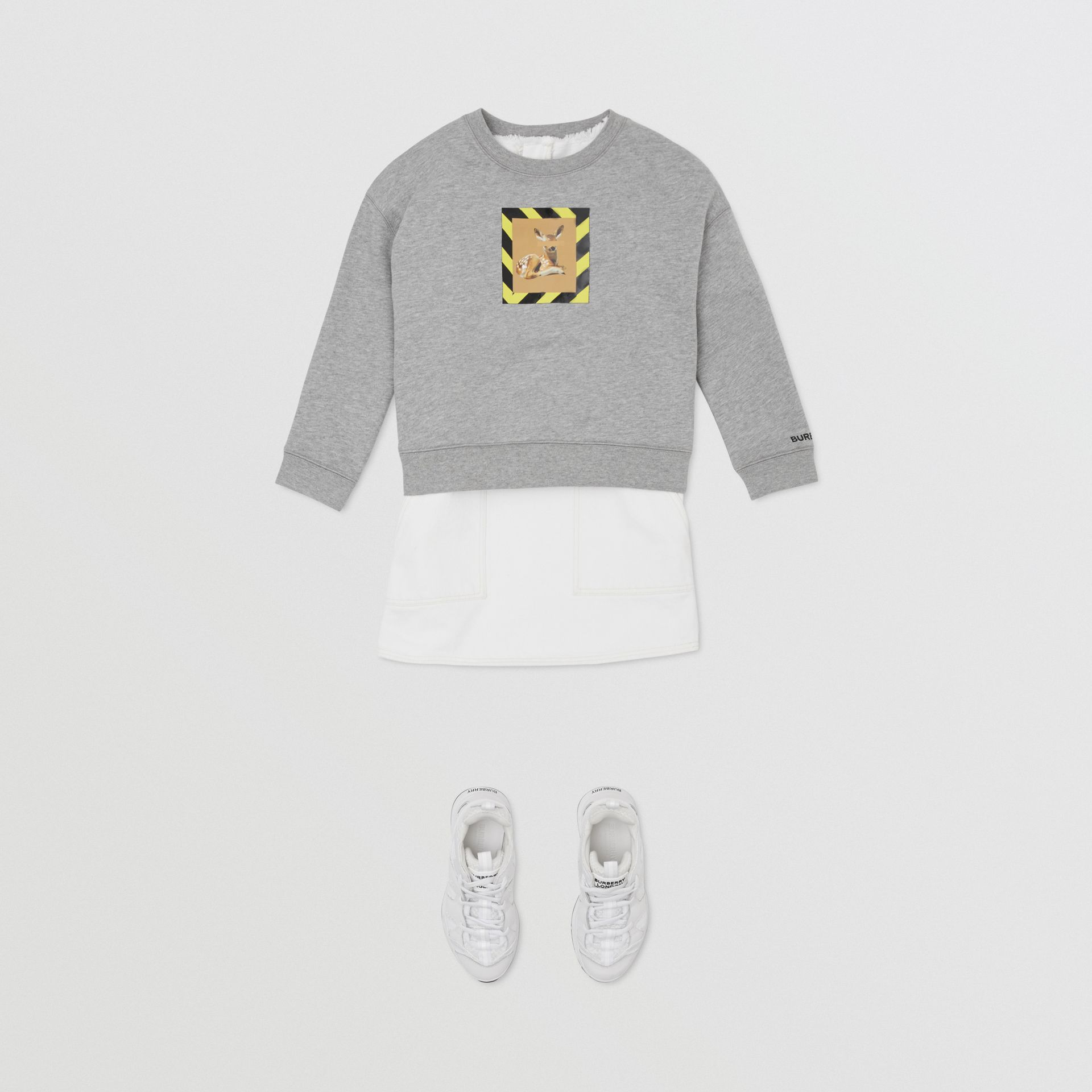 Deer Print Cotton Sweatshirt in Grey Melange | Burberry Hong Kong S.A.R - gallery image 3