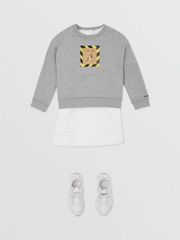 Deer Print Cotton Sweatshirt in Grey Melange | Burberry Hong Kong S.A.R - cell image 3