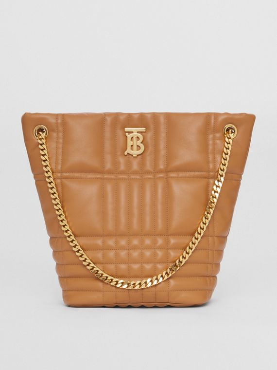 Medium Quilted Lambskin Lola Bucket Bag in Maple Brown