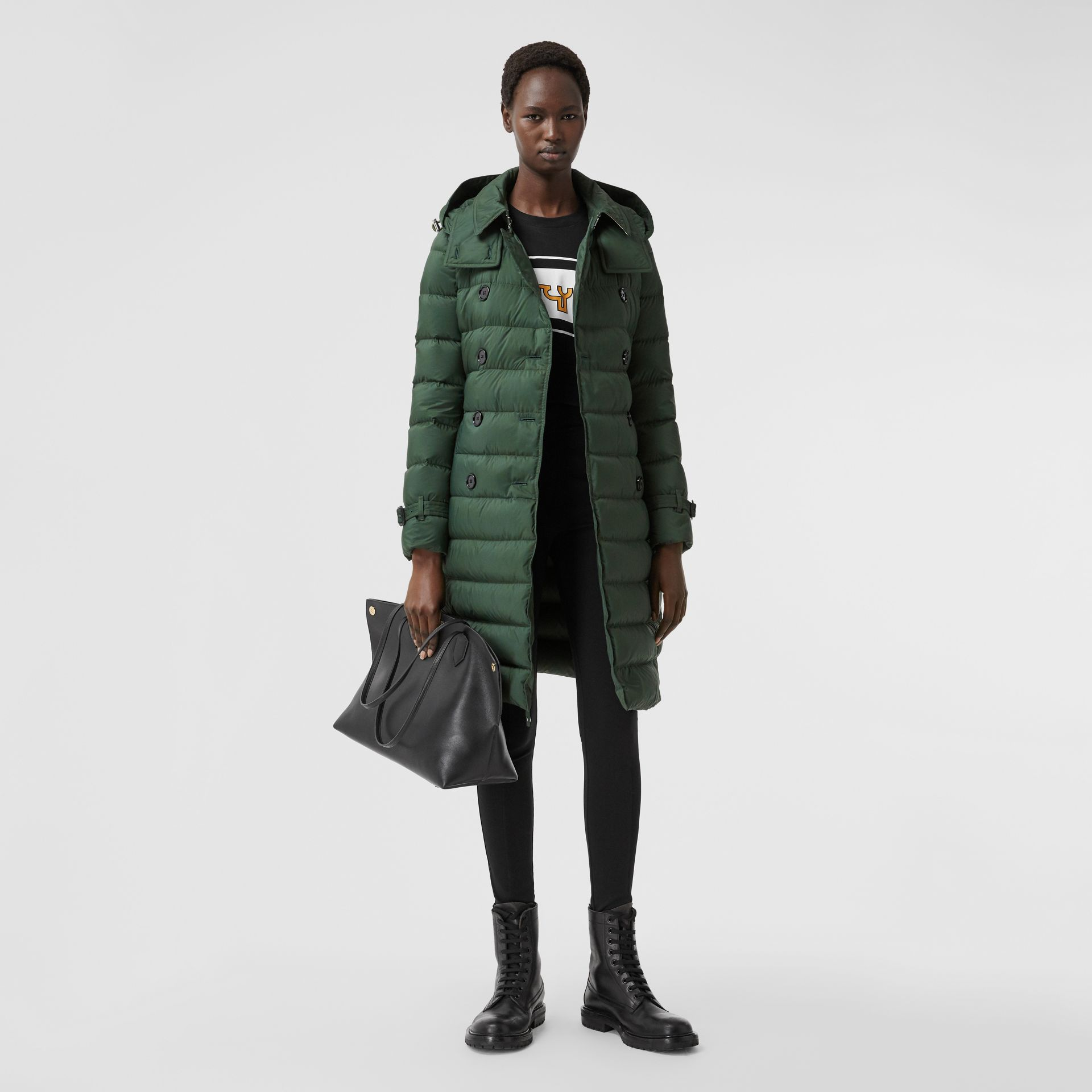 Logo Appliqué Detachable Hood Puffer Coat in Dark Pine Green - Women | Burberry Canada - gallery image 0