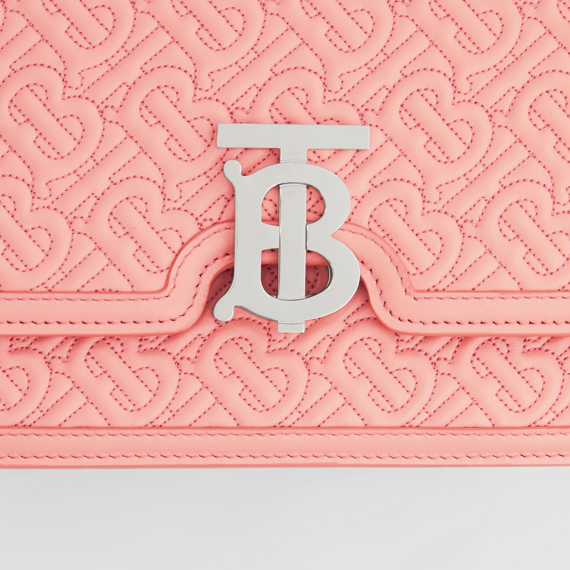 Small Quilted Monogram Lambskin TB Bag in Blush Pink - Women | Burberry - gallery image 1