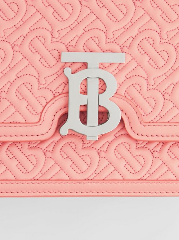 Small Quilted Monogram Lambskin TB Bag in Blush Pink - Women | Burberry - cell image 1