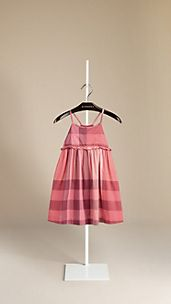 Frill Detail Check Cotton Dress