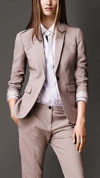Cotton Seersucker Tailored Jacket