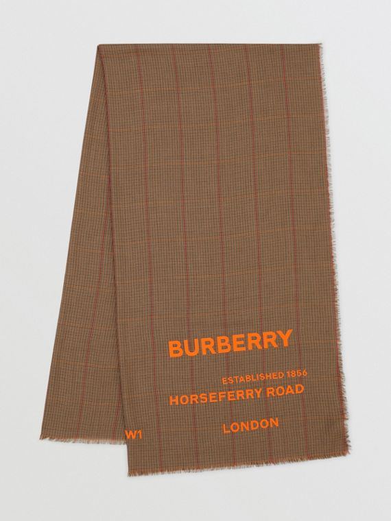 Horseferry Print Houndstooth Cashmere Scarf in Dark Mocha