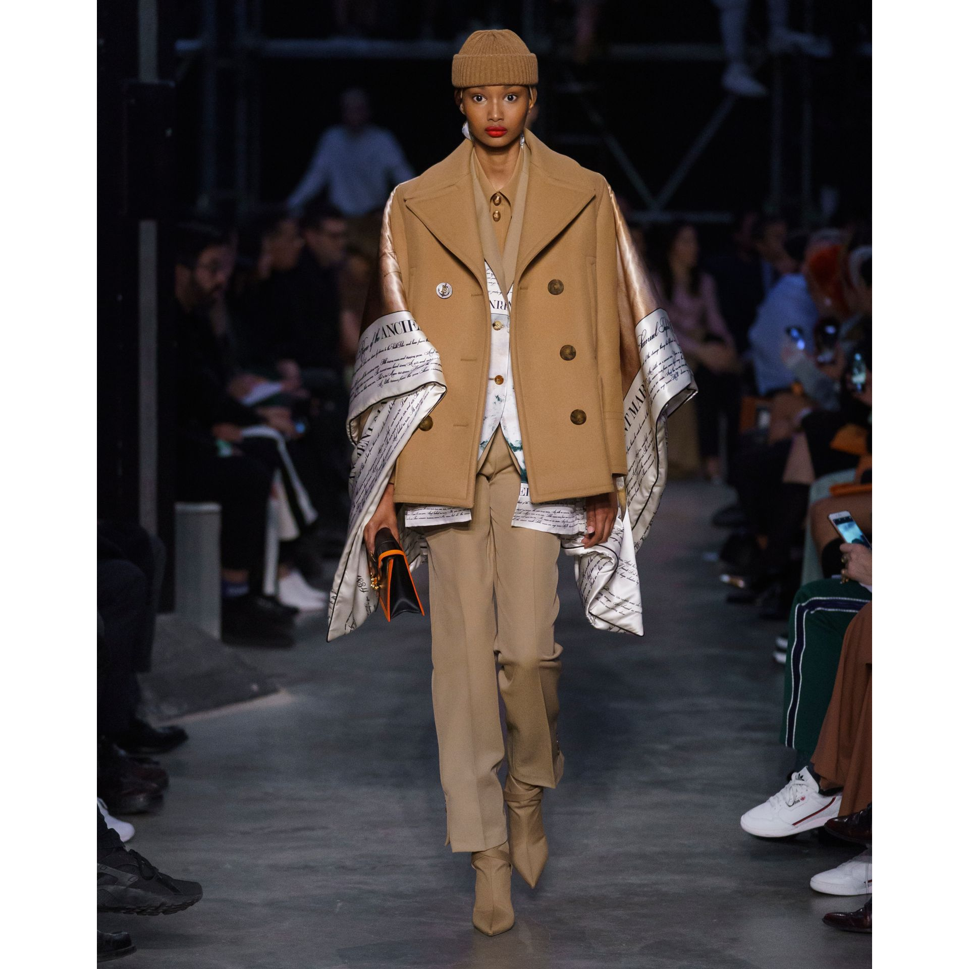 Straight Fit Button Detail Wool Blend Tailored Trousers in Camel - Women | Burberry - gallery image 6