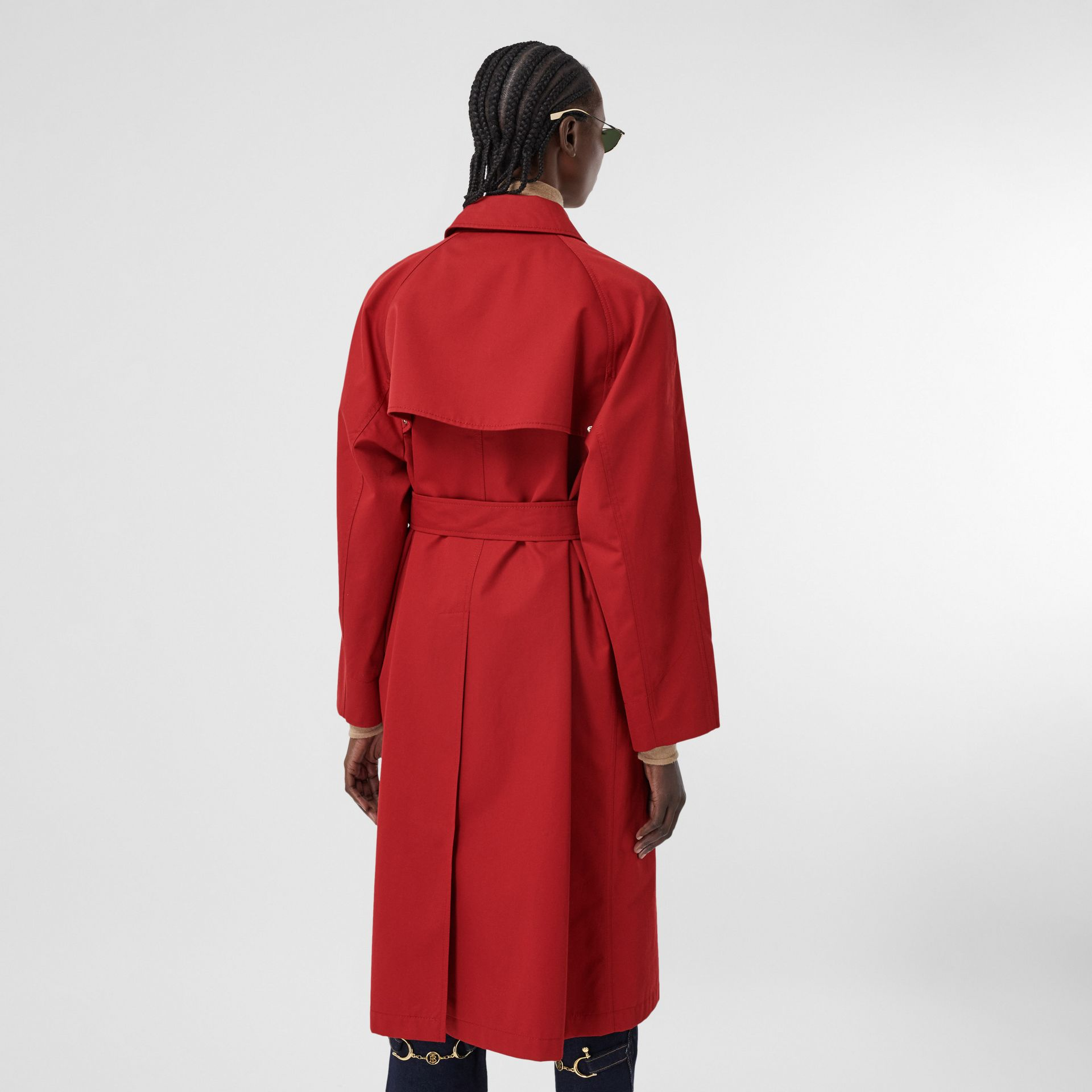 Tropical Gabardine Belted Car Coat in Dark Carmine - Women | Burberry - gallery image 2