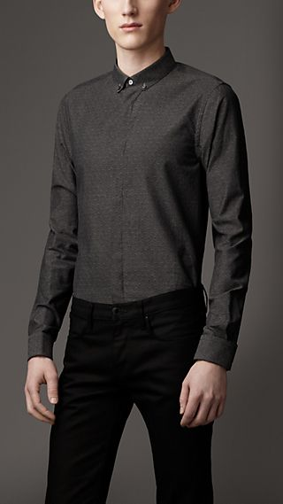 Slim Fit Textured Spot Cotton Shirt