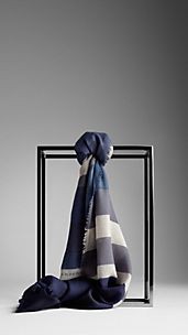 Striped Wool Silk Scarf