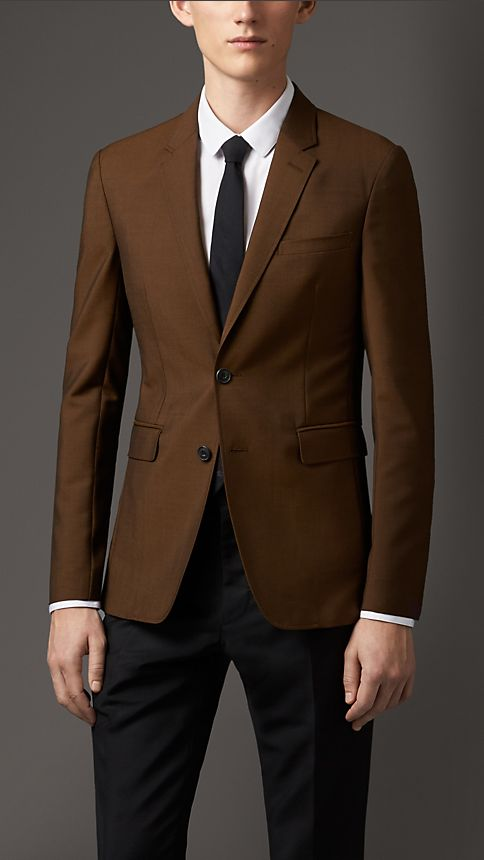 Slim Fit Wool Mohair Jacket Burberry