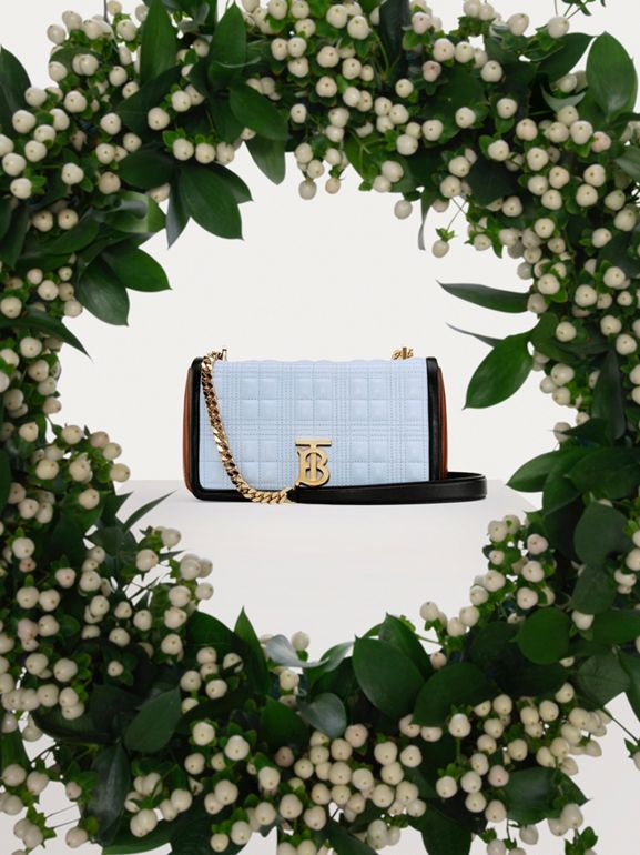 Small Quilted Tri-tone Lambskin Lola Bag in Pale Blue/dark Pine - Women | Burberry - cell image 1