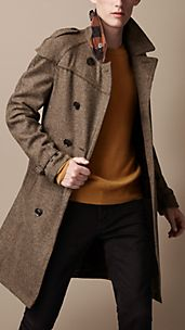 Mid-Length Wool Tweed Trench Coat