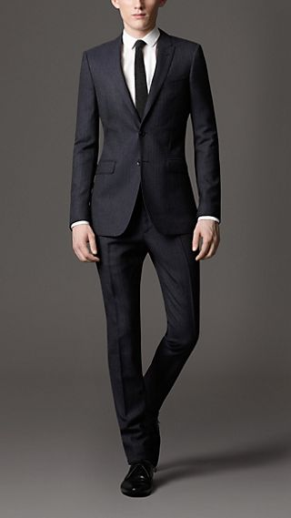 Slim Fit Virgin Wool Stripe Suit